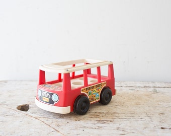 Vintage Little People Bus Toy - Fisher Price 1960s Mini Bus Toy Vintage Little People Mini Bus Little Red Bus
