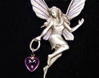 Vintage 'JJ' Purple-Winged Fairy Pendant