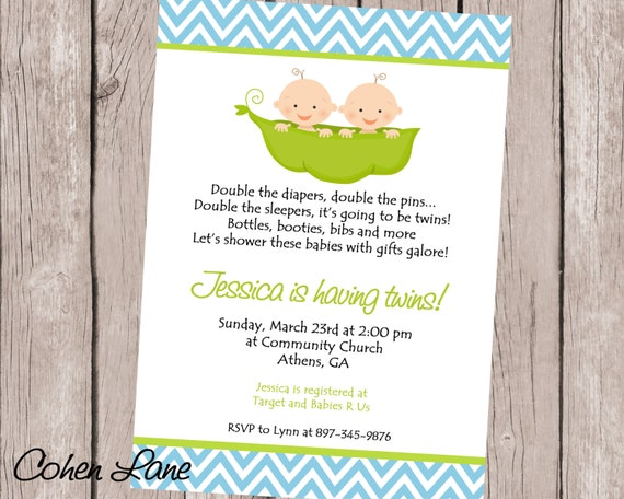 Printable Two Peas In A Pod Invitation Twins Baby Shower Invite