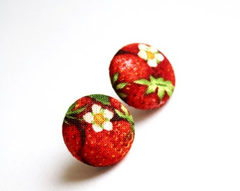 Fabric covered button earrings with a strawberry pattern, summer berry