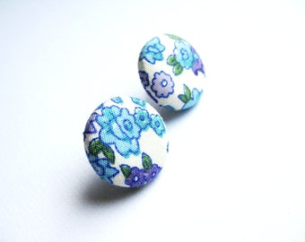 Floral fabric covered button earrings in white, baby blue, purple and green