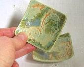 Ring Dishes, Set of 2, Handmade Porcelain Pottery Square Tiny Plates, Teabag Holders, Wedding Favors, Spoon Rests, Light Green, Orange Cream
