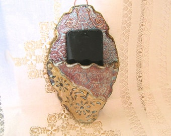 Wall Mounted Cell Phone Charging Station, Stoneware Pottery,  Victorian Purple Ornate Oval Docking Station, I-Phone 5