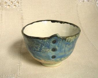 Delicate Handbuilt Stoneware Tea Bowl, Lace Textured Cup, 4 oz, Blue Greens, Cream