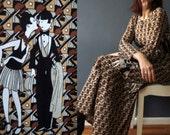 Vintage 70s Deco Print Black Tan Flapper Print Maxi T Shirt Dress Small