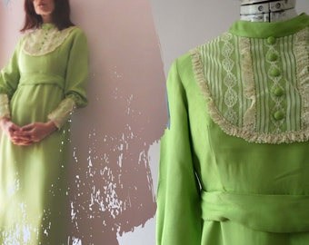 Vintage 60s Lime Green Prairie Maxi Dress, Boho Empire Line Small