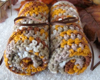 """Large Cotton Washcloths or Dishcloths Crocheted """"I Love This Cotton"""" Yarn Kitchen/Bath Earth Tone Colors Set of 2 10"""" x 10"""" Spa WashCloths"""