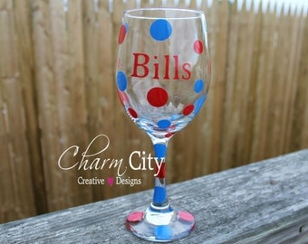 Buffalo Bills Wine Glass 20 oz