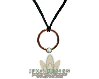 Forged and Hammered Copper and Opal Circle Necklace