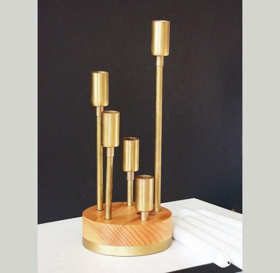 Modern Candelabra Centerpieces : Modern candelabra wood candleholder brass gold centerpiece