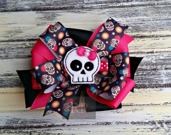 Stacked Boutique Loopy Pinwheel Bow with Skull Felt Clip Center - Punk Day of the Dead Hairbow - Handsewn Bow - Ready to Ship (RTS)