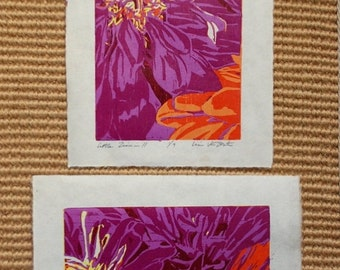Little Zinnias, SET of handmade original woodblock prints