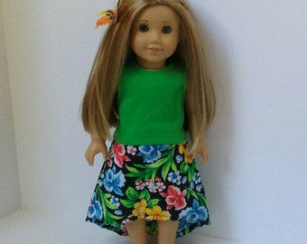 18 Inch Doll-American Girl Dress: Tropical skirt and tank top for Lea Clark