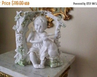 ON SALE BEAUTIFUL German Bisque Girl With Rabbit Vase Early 1900 Royal Rudolstadt or Style Thereof 10837