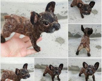 French bulldog, needle felted dog, soft sculpture, custom pug portrait, MADE to ORDER, Frenchie portrait, felt pet, pet loss gift, urn decor