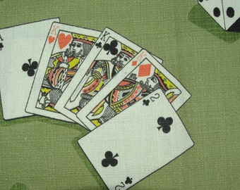 Vintage 1950s Game Motif Barkcloth Cotton Fabric 2 1/2 yards