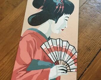 Vintage oriental lady geisha  Paint by numbers vintage japan or japanese decor