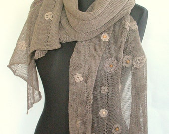 Linen Scarf Natural Gray Shawl Wrap Stole Light Transparent and Crocheted Flower