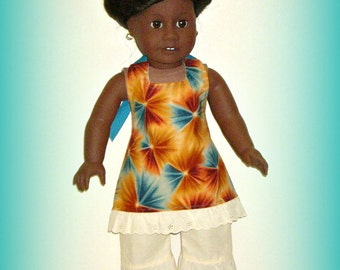 """Handmade Doll Clothes by traveller240, Fits 18"""" Soft Body Dolls Such as American Girl, Multicolor Geometric Print Halter Dress, Capri Pants"""