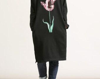 Women cotton round Collar long sleeved long dress Leisure Black dress/ Grey dress