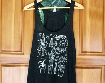 Women's Houseplant Tank - S M L - Racor Back - Hand Screen Printed