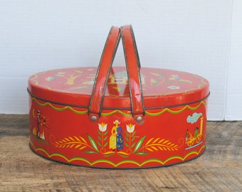 Vintage Red Oval Sewing Storage Handled Tin Pennsylvania Dutch Kitchen Home Decor