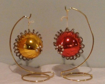 Christmas Ornaments Vintage Antique Wire Wrapped  Early Unique Red Gold Set of 2