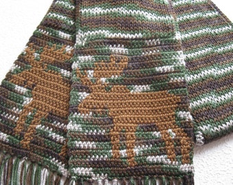 Knit Moose Scarf. Camouflage scarf with moose silhouettes. Knitted animal scarf. Green camo animal scarves