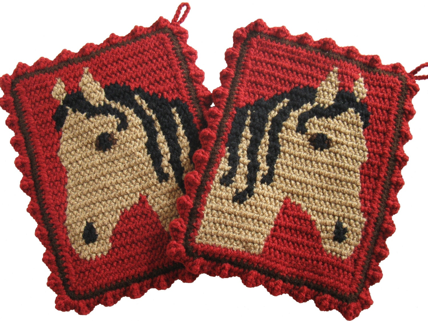 Horse Pot Holders Large Crochet Potholders With Buckskin Horse Heads Ranch Red Kitchen Decor