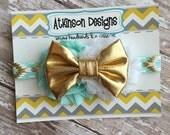 Mint and Gold Tribal Print Elastic Headband - Newborn/Infant/Toddler/Adult - Photography Prop