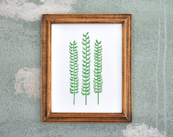 Forest Fern Green Linocut Block Print Botanical Decor