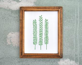 Forest Fern Green Linocut Block Print Botanical Decor