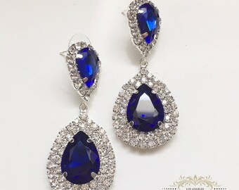 Bridesmaid earrings, Bridal earrings, Wedding jewelry, Teardrop earrings, Royal blue crystal earrings, Sapphire earrings, Victorian earrings