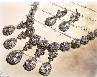 Wedding jewelry set, Bridal bib necklace earrings, vintage inspired rhinestone crystal statement necklace jewelry set