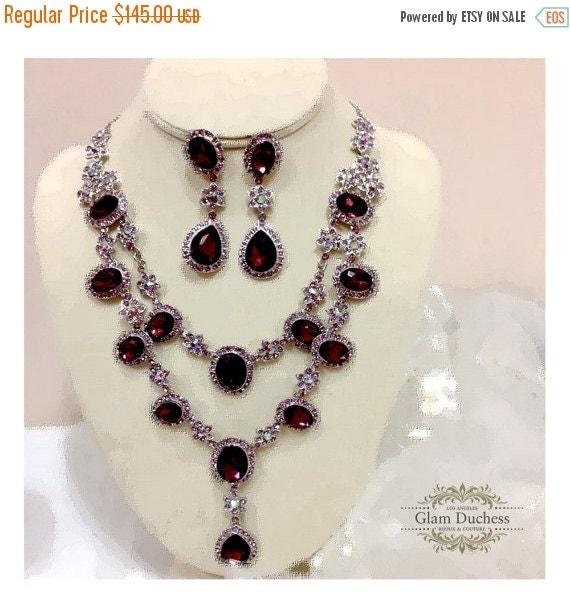 Wedding jewelry set, vintage inspired Marsala crystal ...