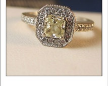 Estate 14k Radiant Cut Yellow Diamond and Diamond Halo Engagement Ring with Certification