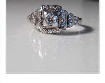 Stunning Antique Deco 14k Diamond Tiered Ring
