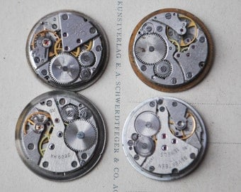 0.9 inch Set of 4 vintage wrist watch movements.