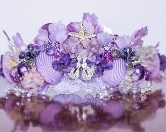 Mermaid Crown - Purple Wire Crown - Mermaid Hairpiece - Flowergirl hairpiece - Beach Wedding - Prop - Wedding Crown - Floral Hairpiece