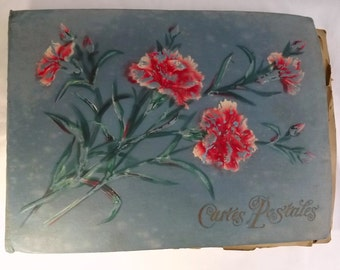 Collector's item - old postcard album with over 350 religious postcards, mostly French