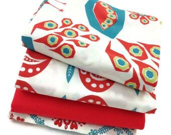 SALE FABRIC, RAAGA, Red Fabric, Monaluna Fabrics, Organic Fabric, Half Yard Bundle, Fat Quarter Bundle, Free Shipping Available