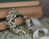 Babys Breath Bridal Bracelet - Real Dried Flowers Wrist Corsage for Rustic Woodland Natural Bride  Wedding Party - Bridesmaid
