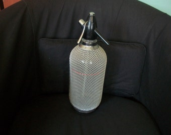 Vintage Sparklets With Wire Mesh Seltzer Glass Bottle