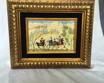 Vintage Persian painting on bone tribal folk art polo players with no faces miniature hand painted on camel bone chowgan