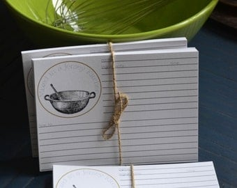 """Mixing Bowl Stamped - 4"""" x 6"""" Recipe Card Set of 12  - Mixed in a Jersey Kitchen Recipe Card Set"""