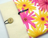 SALE - iPad Air case, iPad cover, iPad sleeve with 2 pockets, PADDED - Pink and yellow flower (217)