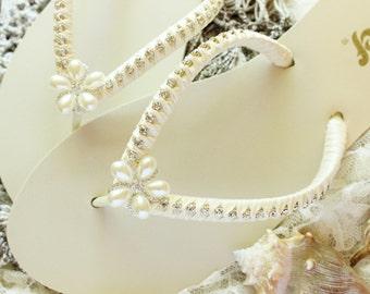 Bride gift, Pearl FLIP FLOPS for wedding, Ivory Bridal flip flops, bridal shower gift, satin embellished flip flops