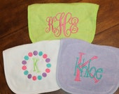 Set of 3 monogrammed/appliqued bibs-baby boy baby girl gift-baby shower-hospital-coming home gift-personalized-unique-pink gray daycare