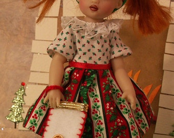 """Happy Holiday for NEW TINY [6.5""""] Riley Kish by JDL Doll Clothes"""