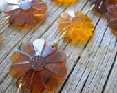 Gold orange daisy chain (2 available)  / Vintage plastic flower tiebacks / gold rust daisy beads